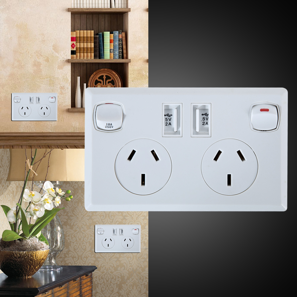 USB Wall Power Socket AC 250V 10A Dual USB Outlet AU Plug Adapter Socket 2 Switches Wall Charger Home Power Charger Panel