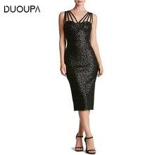 DUOUPA Summer Dress Women 2019 New Sexy Bodycon Sleeveless Backless Black Party Dresses Vintage Strapless Sequin Dress Vestidos цена