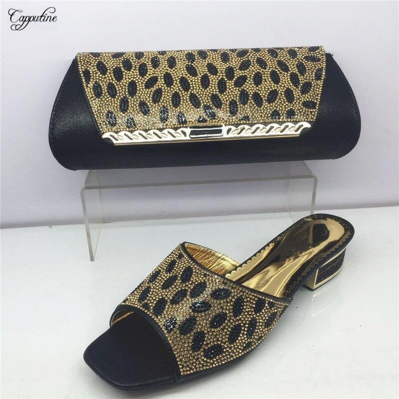 Capputine Italian Style font b Shoes b font With Matching Bags Set Nigerian Low Heels font