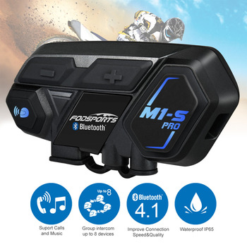 Fodsports M1-S Pro motorcycle intercom helmet bluetooth headset 8 riders 2000M group intercom waterproof BT Interphone