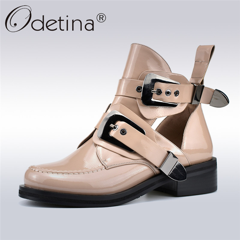 Odetina Spring Autumn New Fashion Women Ankle Boots Punk Buckle Strap Chunky Heels Round Toe Hollow Out Women Boots Big Size 41 new spring autumn ankle strap women shoes big size 32 46 fashion pointed toe buckle strap thick heel high heels zapatos mujer