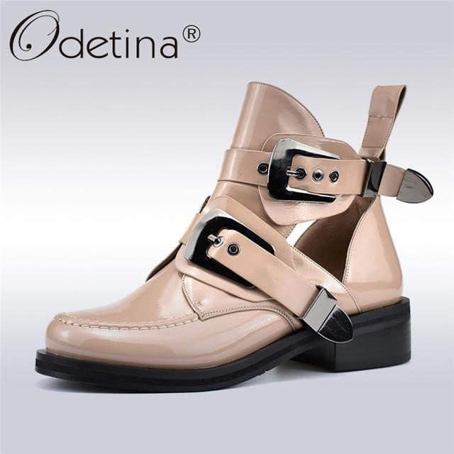 Odetina 春秋の新ファッション女性アンクルブーツパンクバックルストラップチャンキーヒールラウンドつま先中空アウト女性ブーツビッグサイズ 41