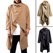 Trench Coat Cotton Long Sleeve Scarf Collar Hip-hop Jacket Men Cloak Outerwear Punk