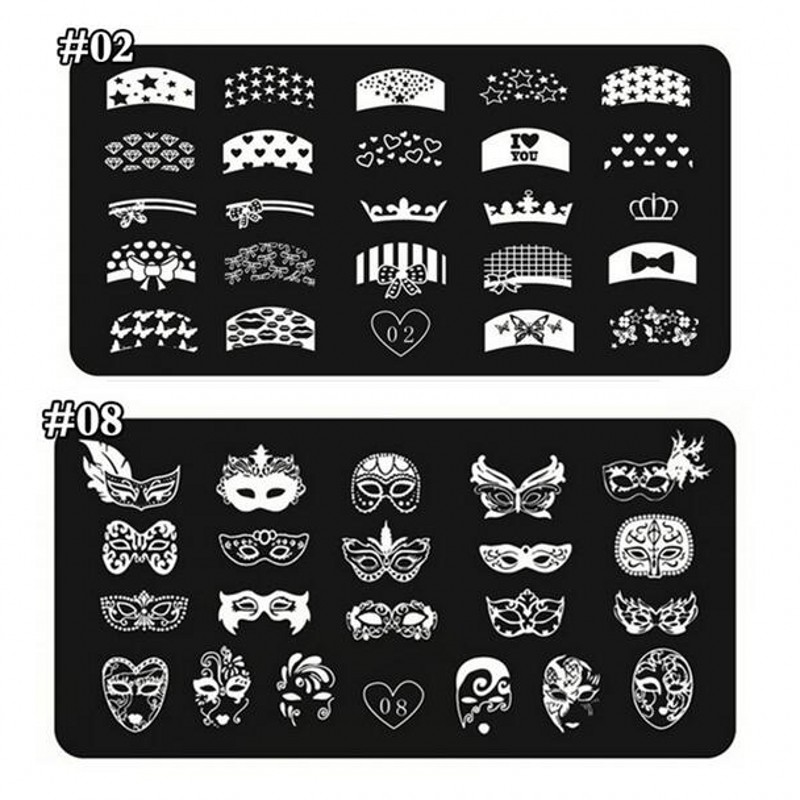 24 Designs Nail Stamping Plates French Tips Party Masks Series Nail Template Stamp Image Manicure Stamp Plates DIY Nail Art 1Pcs(China)