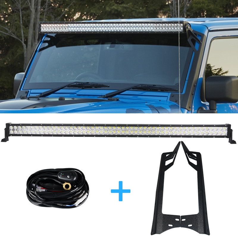 1 x 300W 52'' Offroad LED Light Bar + 2 x Mounting Brackets + 1 x Wiring for Jeep Wrangler JK 2009-2015 4WD SUV Driving light auxmart 22 led light bar 3 row 324w for jeep wrangler jk unlimited jku 07 17 straight 5d 400w led light bar mount brackets
