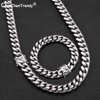 Fashion 12MM Hip hop Silver Mens Link Jewelry Sets Men Miami Cuban Chain Necklace Bracelet Stainless steel Dragon Clasp Lock