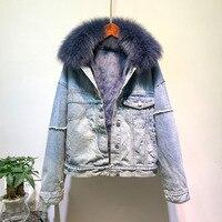 Корейская женская парка джинсовая куртка пальто 2019 новая весна натуральный Лисий мех воротник толстый натуральный кроличий мех внутренний