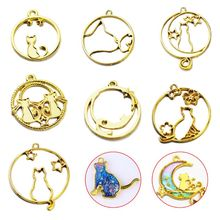7 Pcs/set UV Epoxy Resin Openwork Metal Border Star Tail Kiss Cat Modeling DIY Pendant Key-chain Jewelry Frame Mold