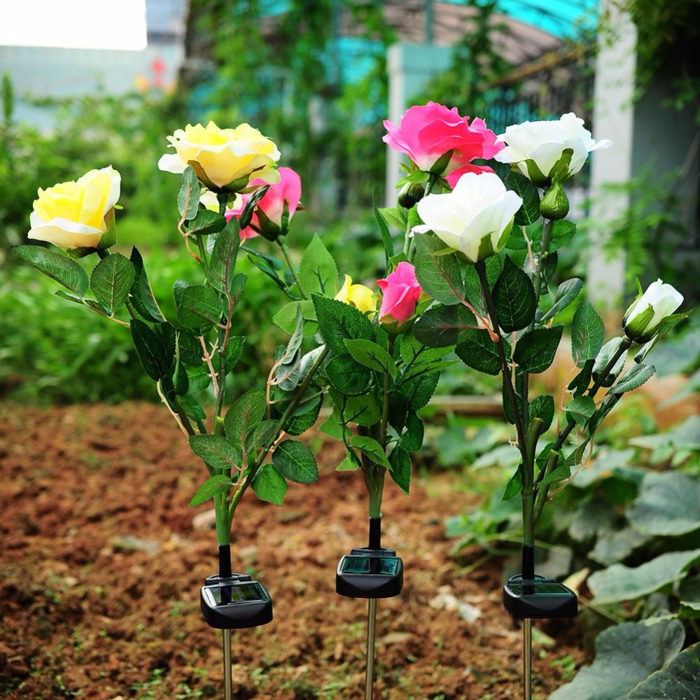 Solar Powered Energy Saving 3 LED Rose Flower Stake Light Garden ...