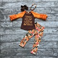 "Fall/Winter girls brown orange outfits kids pant sets foral ""shine"" clothes kids ruffle pant sets with necklace and hairhows set"