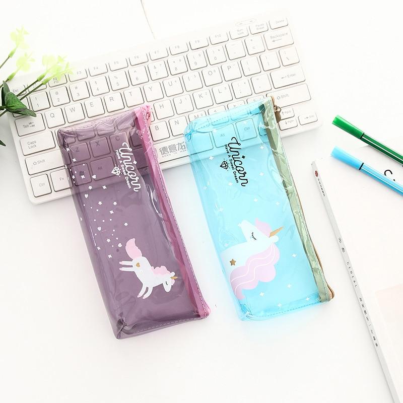 Novelty Stationery Kawaii Transparent PVC Unicorn Pencil Case Cute Large Capacity Pen Pencil Bag For Girls Boys School Supplies