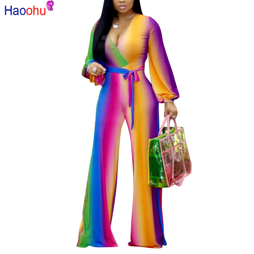 Multi Color Printed Fashion Women Streetwear Full-length Jumpsuit Sexy Deep V Neck Belted Details Wide Legs Pants Jumpsuit