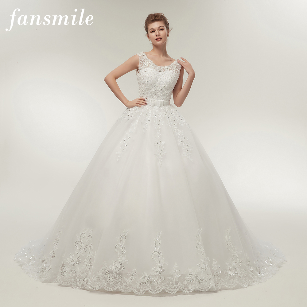 Fansmile Long Train Vintage Lace Up Bow Princess Wedding Dresses 2019 White Bridal Ball Gown Robe