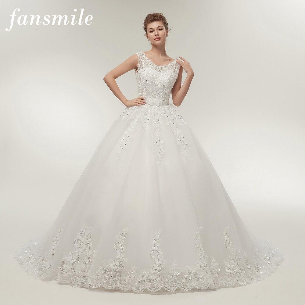 Fansmile Lange Zug Vintage Spitze Up Bogen Prinzessin Hochzeit