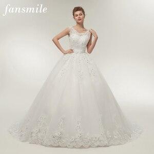 Image 1 - Fansmile uzun tren Vintage Lace Up yay prenses gelinlik 2020 beyaz gelin balo Robe de Mariee gerçek fotoğraf FSM 089T