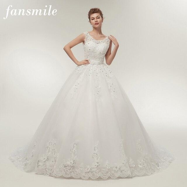 Fansmile uzun tren Vintage Lace Up yay prenses gelinlik 2020 beyaz gelin balo Robe de Mariee gerçek fotoğraf FSM 089T