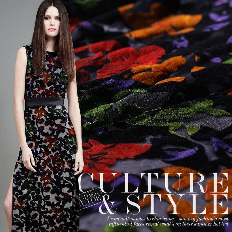 Europe And The United States Burnt-out Silk Velvet Fabric Dress Cheongsam Skirt Fabric Burnt-out Silk Velvet Cloth Special