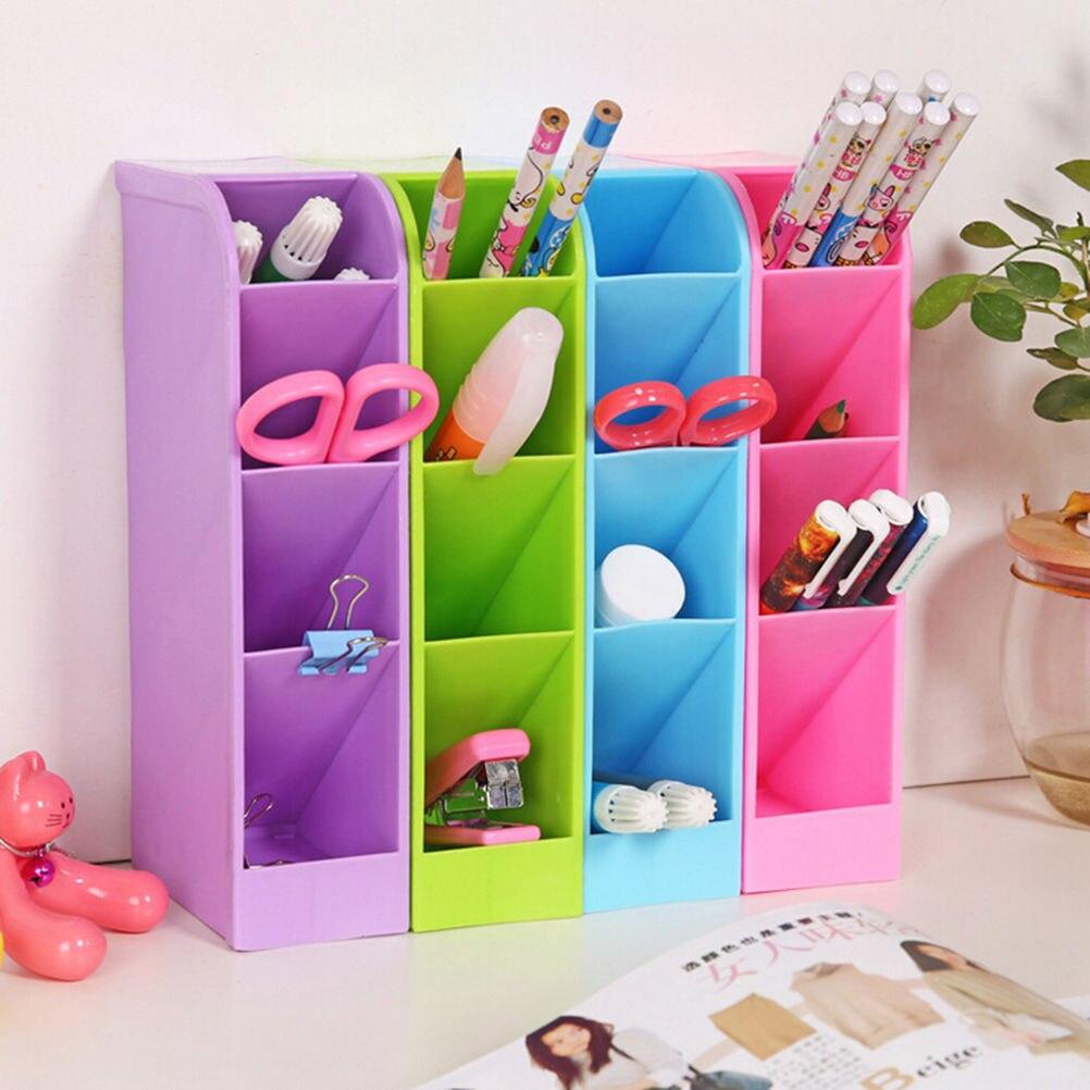 Persevering Stick On Desktop Makeup Storage Pen Holder Plastic Desk Organizer Stationery Pen Holders