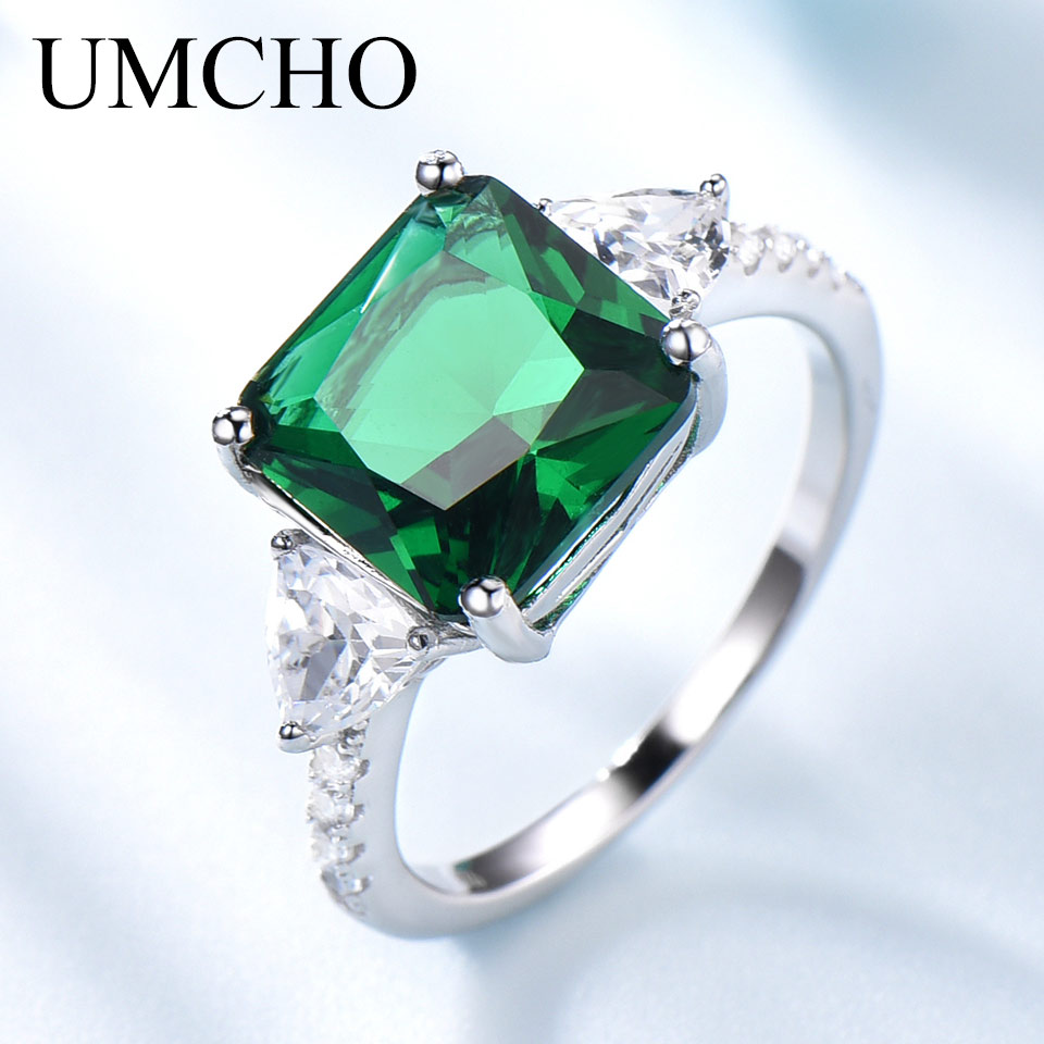 UMCHO Emerald Gemstone Rings for Women Solid 925 Sterling Silver Promise Ring Square Green Wedding Engagement Luxury Jewelry New