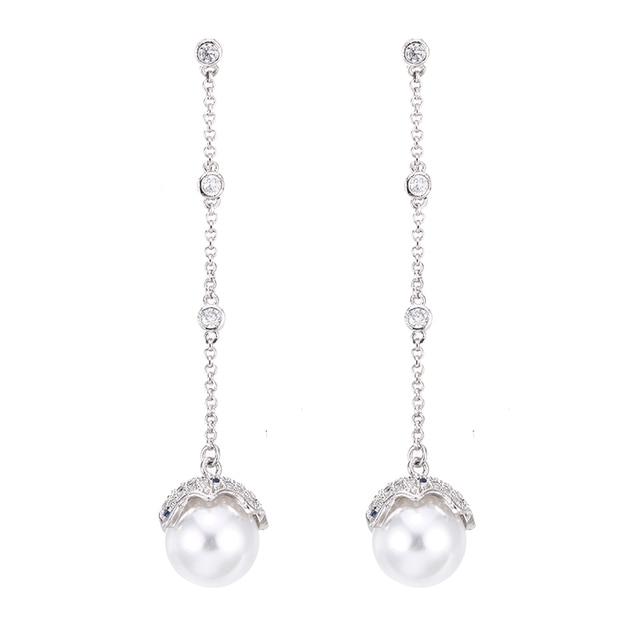 c22f76f38 100% 925 sterling silver fashion shiny crystal imitation pearl egg  ladies`long stud earrings women jewelry female gift wholesale