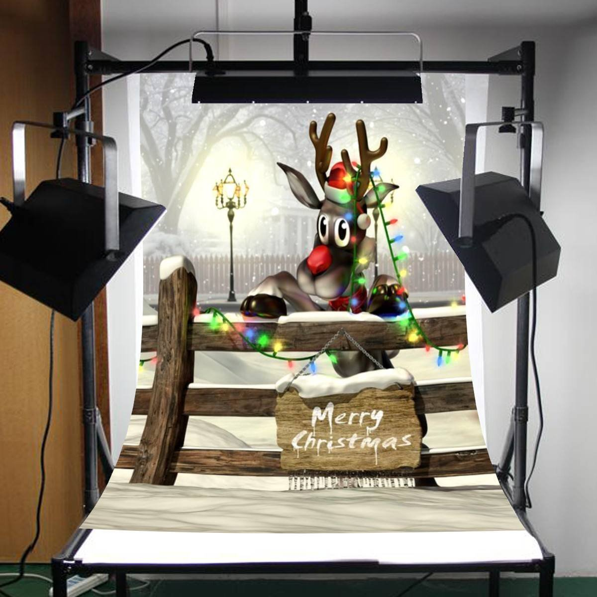 Photography Backdrops Christmas Rural Forest Christmas Heavy Snow Wooden Fence Background-in Photo Studio Accessories from Consumer Electronics