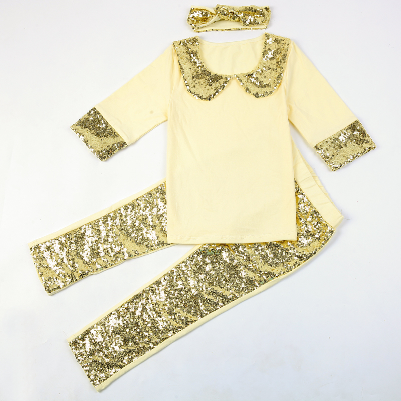 f42e3753c ̿̿̿(•̪ )Kids Girls Clothes Set Sweety Sequin Callor Top + Legging + ...