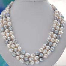 Великолепное 9-10 мм Tahitian барокко Южно-Морское ожерелье с разноцветным жемчугом 48 дюймов