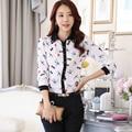 2016 новых женщин мода стрекоза печати режим отдыха рубашка с длинным рукавом женщины шифон блузка