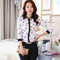2016 new women's fashion dragonfly print mode leisure shirt long sleeve shirt women chiffon blouse