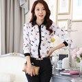 2016 nuevas mujeres de la manera de la libélula del modo de impresión ocio camisa de manga larga camisa de las mujeres blusa de gasa
