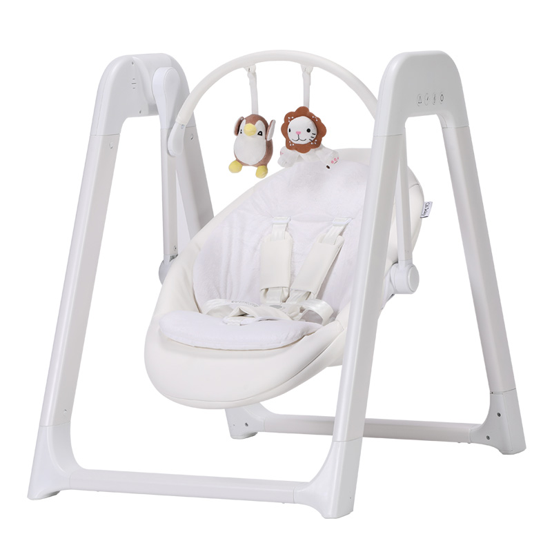 White Baby Rocking Chair with electricity 220V, Baby Swing with Sleep Music, Fix Time Baby Swing Chair with Adjust Seat Backrest ...