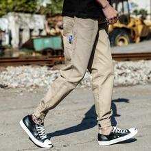 Fashion Streetwear Joggers Pants Men Loose Fit Khaki Color Multi Pockets Cargo Harem Trousers Slack Bottom Hip Hop