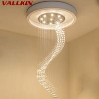 Modern Luster Crystal Chandeliers Lighting Fitting Single Spiral Staircase LED Pendant Lamp For Foyer Dining Room Restaurant