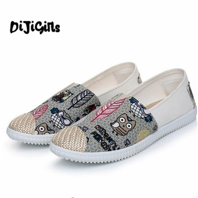 Fashion 2018 Women Shoes Flats Cute Owl Sneakers Flat Shoes Slip On Casual Espadrilles Canvas Shoes Woman Sneakers Dropshipping vintage women flats chinese fashion beads embroidered casual canvas shoes slip on shoes for woman white shoes