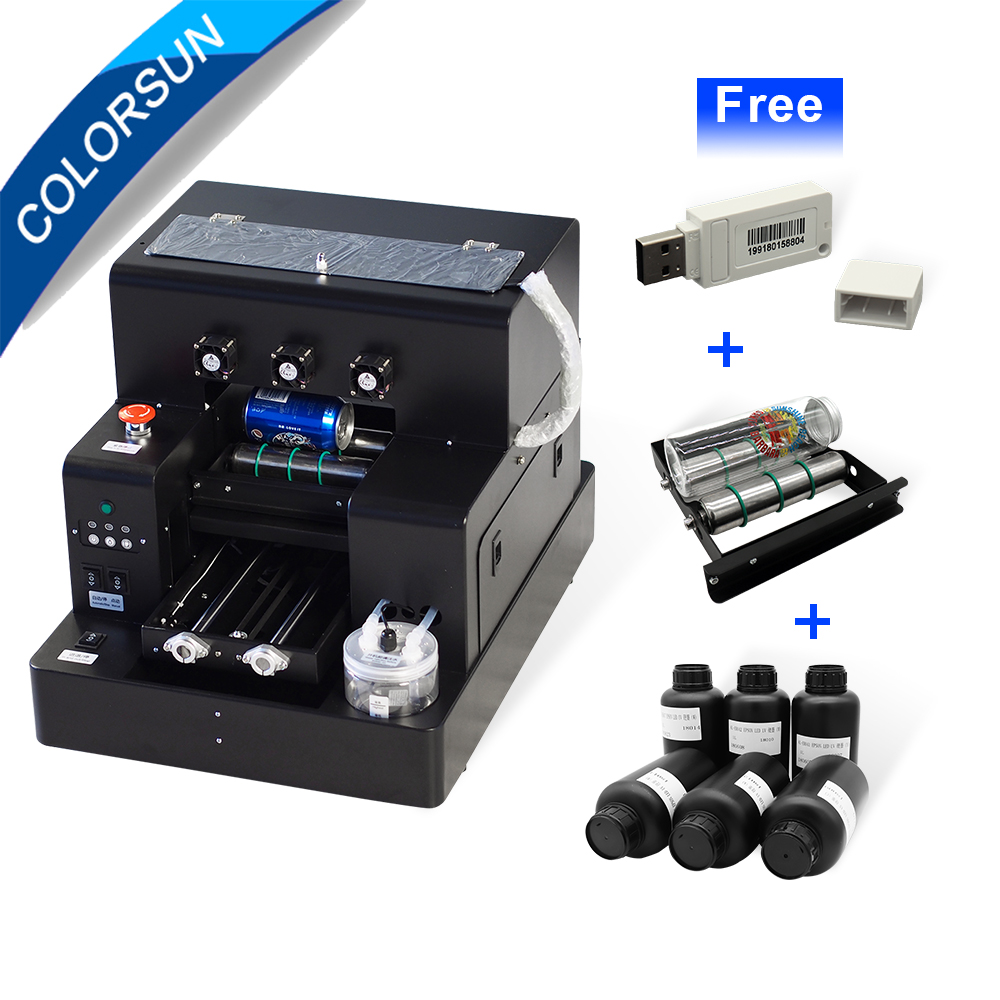 Colorsun Automatico A4 UV stampante flatbed stampante Bottiglia Di copertura Del Telefono Macchina da Stampa per Epson L805 testina di Stampa UV stampante A4