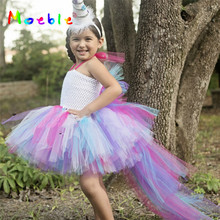 Unicorn Girl Dress Princess Rainbow Tutu Dress Kids Cosplay Clothing Christmas Costume Children Party Dresses Baby Clothes children girl rainbow tutu dress princess little horse tutu dresses little girls dress up fancy tutus baby clothing christmas