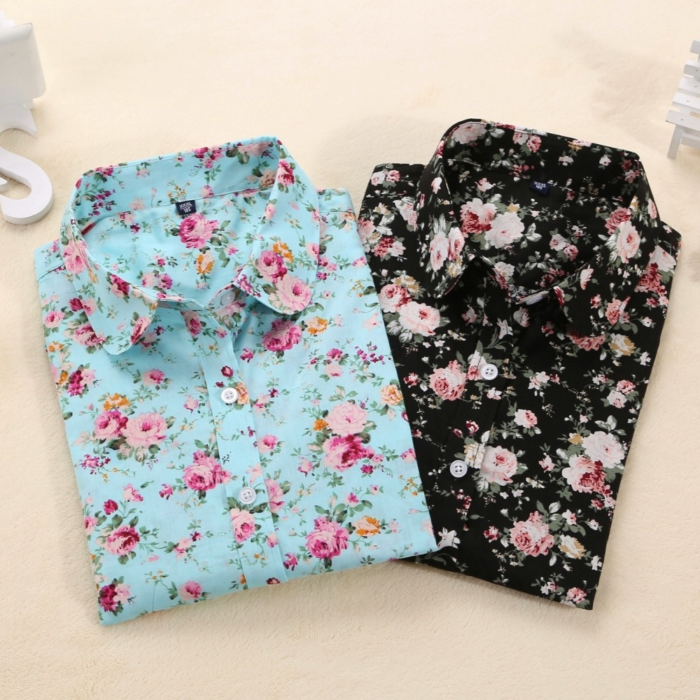 Dioufond Women Summer Blouses Vintage Floral Blouse Long Sleeve Shirt Women Camisas Femininas Female Tops Fashion Cotton Shirt(China)