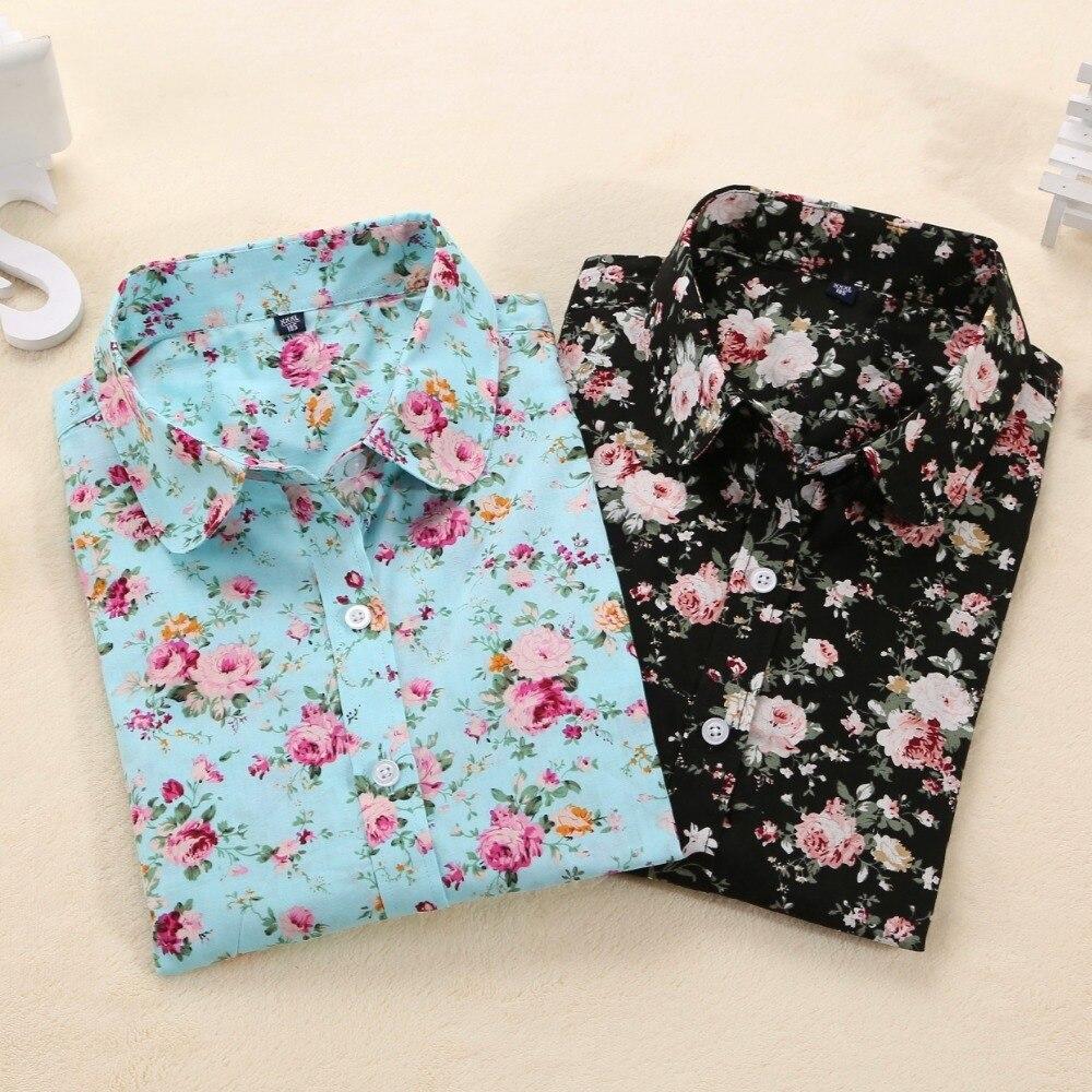 Dioufond Mulheres Blusas de Verão Floral Do Vintage Blusa Camisa de Manga Longa Mulheres Camisas Femininas Blusas Femininas Camisa de Algodão de Moda