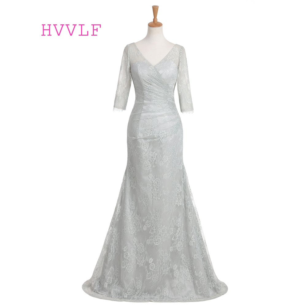 New Silver Evening Dresses 2019 Mermaid V neck Sweep Train Half Sleeves Backless Lace Long Evening Gown Prom Dress Prom Gown