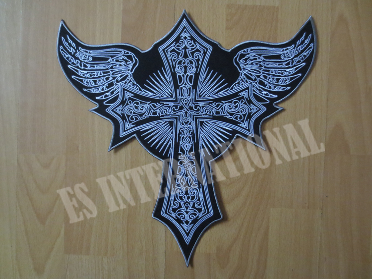 "12,6 ""tommer Cross medalje Angel Large Broderi Patches til Jacket Back Vest Motorcykel Biker"