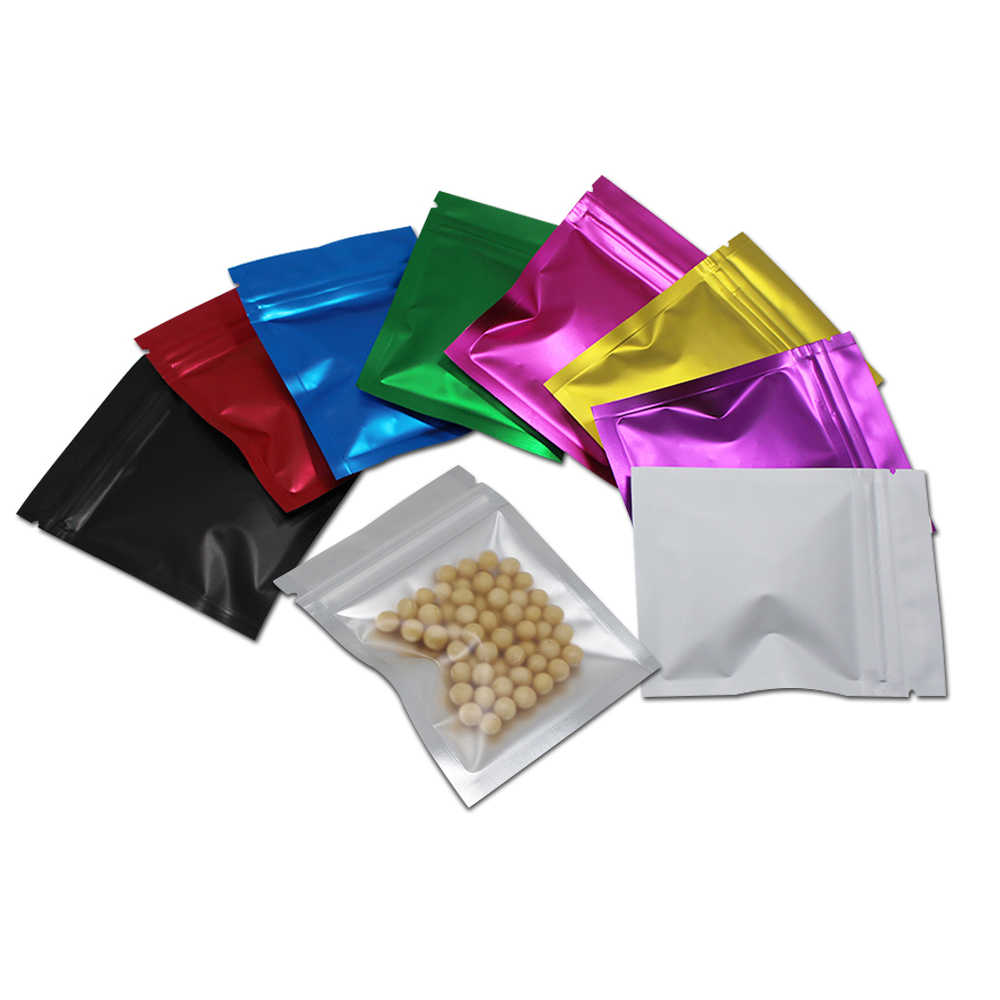 100pcs/Lot Zip Lock Plastic Bags for Food Coffee Powder Packaging Mylar Aluminum Foil Front Clear Zipper Reusable Sample Pouches