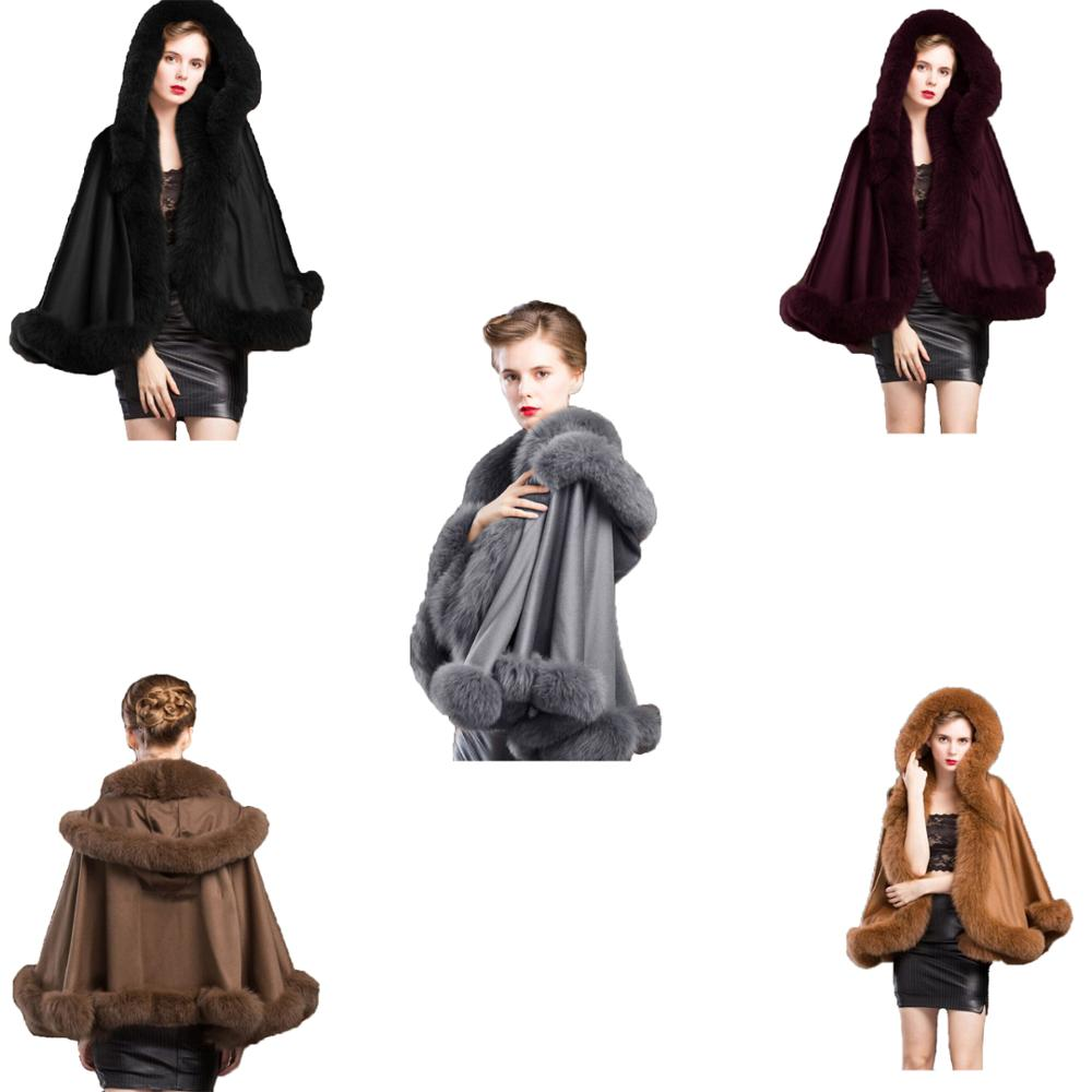 Women's Real Cashmere Cape With Hood Genuine Fox Fur trimed all around / Coat Party 5 Colors Winter Fashion