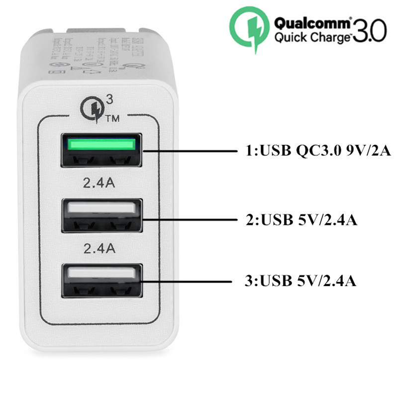 10 PCS Travel 3A Quick Charger QC3 0 EU US UK Plug Wall 3 USB Ports For iPhone 7 8 X iPad Samsung S8 Huawei Xiaomi QC 3 0 30W in Mobile Phone Chargers from Cellphones Telecommunications
