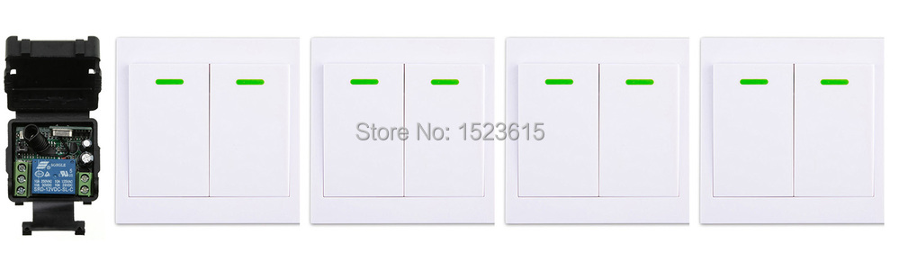 New DC12V 1CH Wireless Remote Control Switch System Receiver + 4*Wall Panel Remote Transmitter Sticky Remote Smart Home Switch ac 220 v 1ch wireless remote control switch system receiver wall panel remote transmitter sticky remote smart home switch