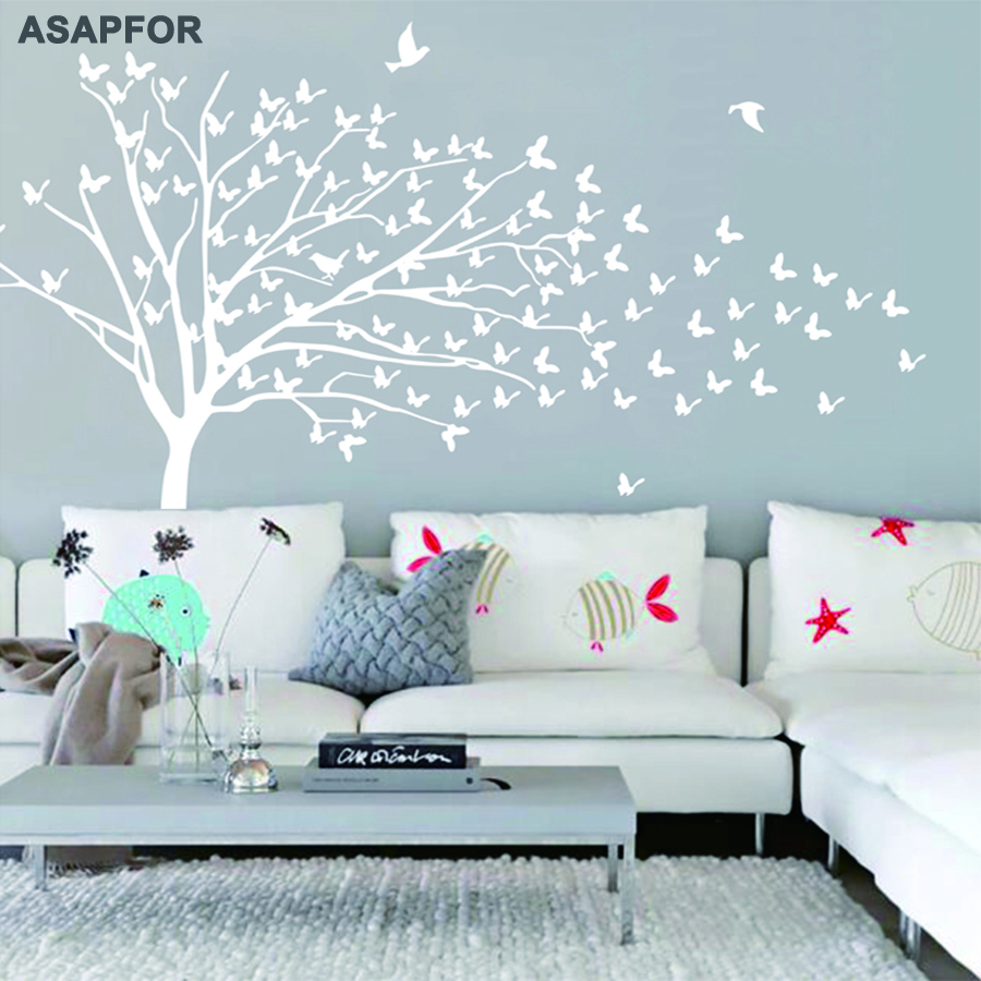 Huge White Tree and Birds Stickers Butterflies on the Wall Decals Decoration for Living Room Landscape Nursery Bedroom Wall Art