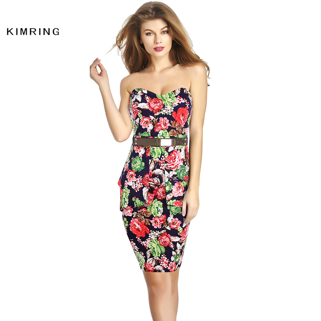 Kimring Womens Sexy Elegant Floral Party Dress Slim Ruffles Casual Vestidos Fitted Pencil Robe Evening Party Dress