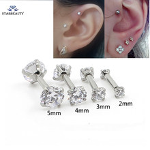 1Pc รอบ Zircon ต่างหู Tragus 2-5mm Zircon Anodized ภายใน Threaded Prong อัญมณี Monroe 16G tragus Helix Ear Piercing(China)