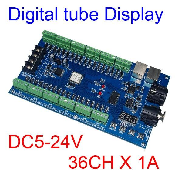 DC5V 24V 36CH RGB DMX512ถอดรหัสLED DMX XRL 3P Controller 36ช่อง13กลุ่มRGB MAX 36AสำหรับLED StripโมดูลLEDเทป