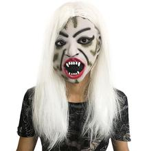 Halloween Realistic Latex Masks White Hair Scary Mask Mascaras Cosplay Horror Weman Costume Masker Party Carnival
