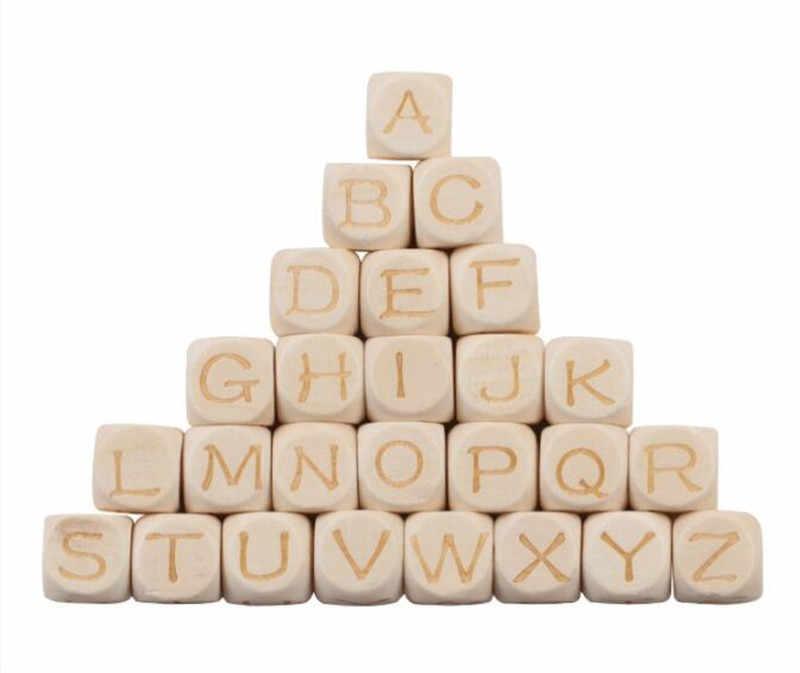 Натуральные 20 шт. деревянные буквы алфавита бусины для прищепка для соски для изготовления украшений ожерелья и браслет DIY деревянные бусины